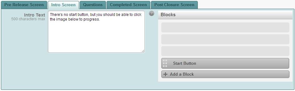 Intro Screen Add Block